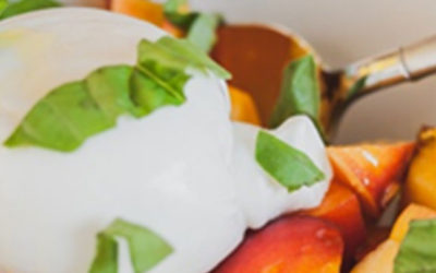 Peach and Basil Salad with Burrata